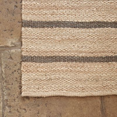 Charcoal Stripe Hemp Runner - Small
