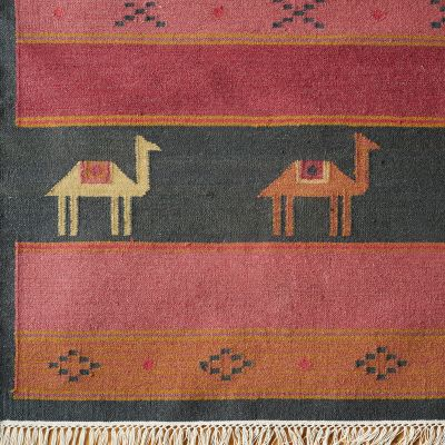Hand-woven Wool Kilim - Pushkar Midnight