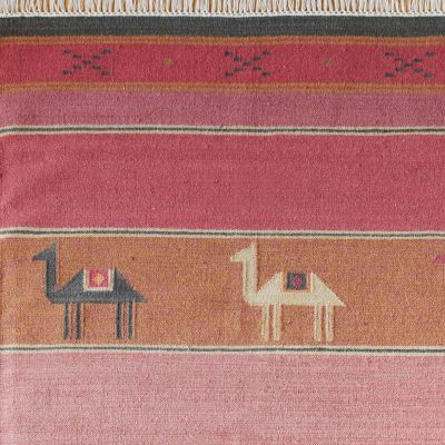 Hand-woven Wool Kilim - Pushkar Rose