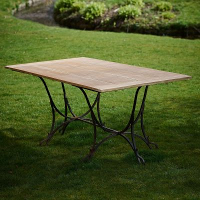 Seconds Wrought Iron & Teak Garden Table