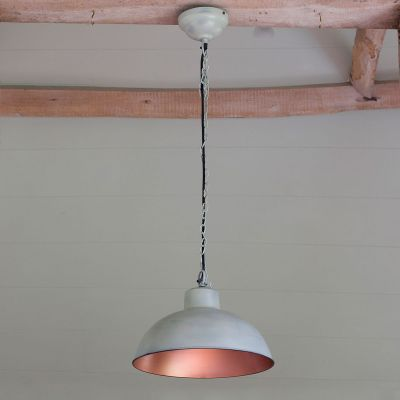 Light Grey Copper Lined Metal Pendant Lamp