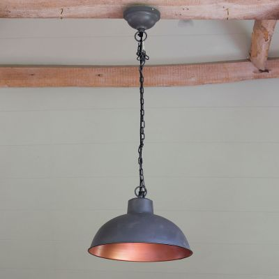 Charcoal Copper Lined Metal Pendant Lamp