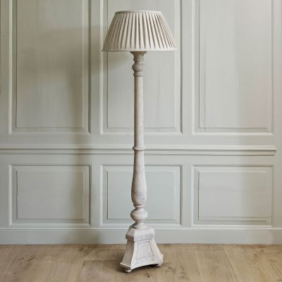 Carved Wooden Standing Lamp