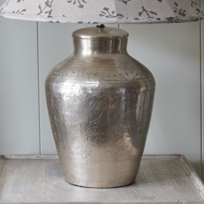 Etched Silver Lamp Base