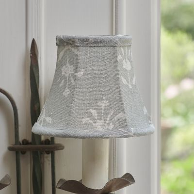 Smokey Blue Moonflower Linen Framed Lampshade - 5""