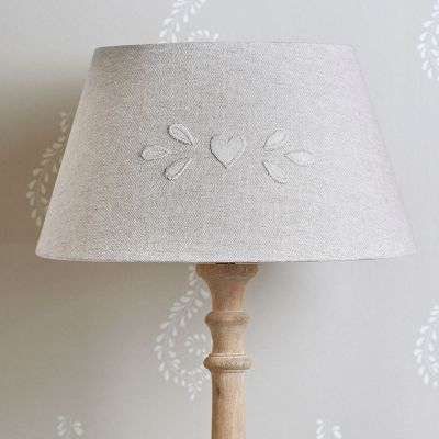 "Embroidered Grey Cotton 14"" Empire Lampshade"
