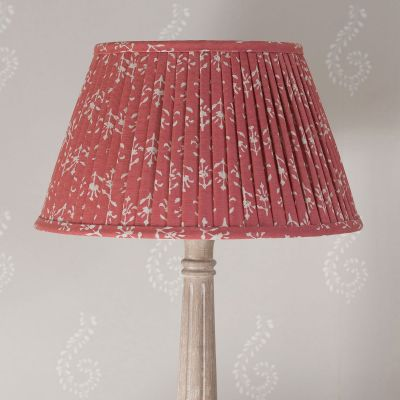 Pleated Lampshade - Reverse Red Moonflower 14