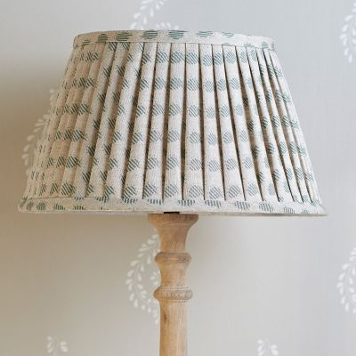 "Sail Blue Nina Linen 14"" Pleated Lampshade"
