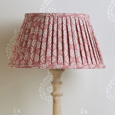 "Rose Sprig 14"" Pleated Lampshade - Gold Lining"