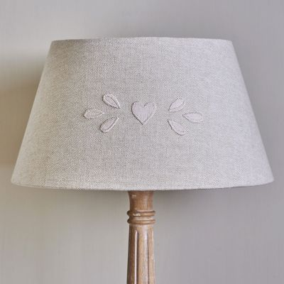 "Embroidered Grey Cotton16"" Lampshade"