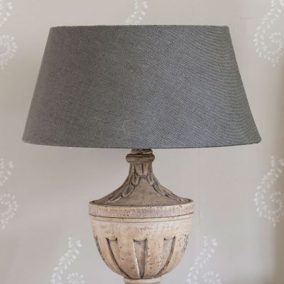 "Plain Charcoal Linen Empire 16"" Lampshade"