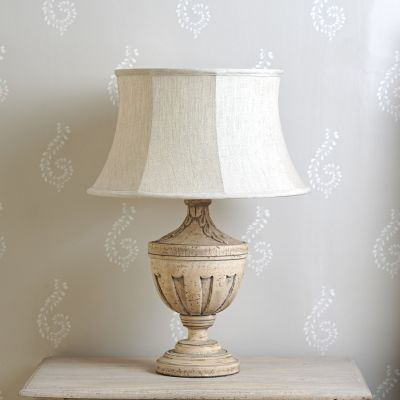 "Natural Linen 16"" Framed Lampshade - Rose & Gold Lining"