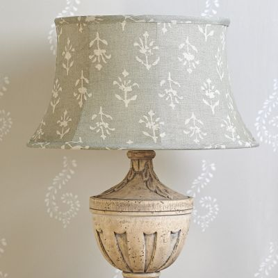 Smokey Blue Moonflower Framed Lampshade 16""