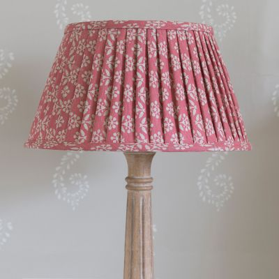 "Rose Sprig 16"" Pleated Lampshade - Gold Lining"