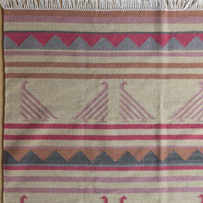 Hand-woven Wool Kilim Sample - Biarritz Birds