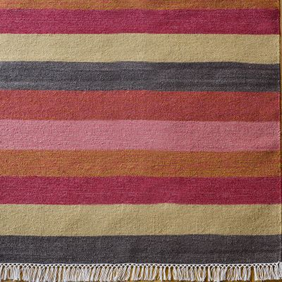 Hand-woven Wool Kilim  - Charcoal/Rust/Rose Wide stripe - Small Sample