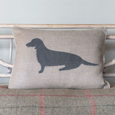 Applique Dog Linen Cushion