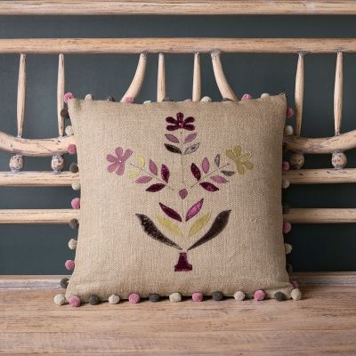 Charcoal Indian Daisy Linen Cushion