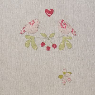 Linen Lovebirds Embroidered 3m Panel – 126