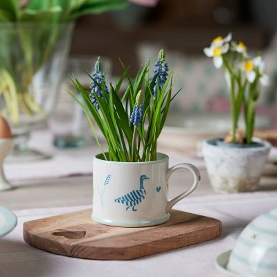 Indigo Blue Geese in the Grass Straight Mug