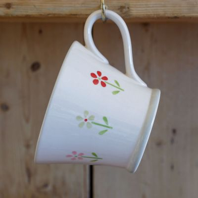 Flowerbed Red Conical Mug
