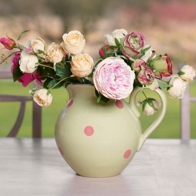 Green Rose Spot Large Round Jug