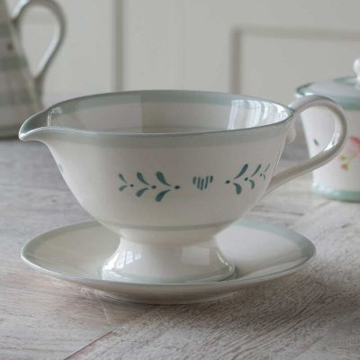 Blue Gustavian Sauce Boat and Saucer