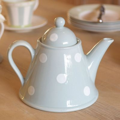 Blue / White Spot Conical Teapot