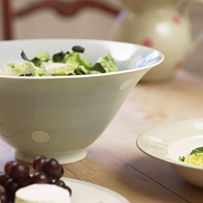 Blue White Spot Large Salad Bowl