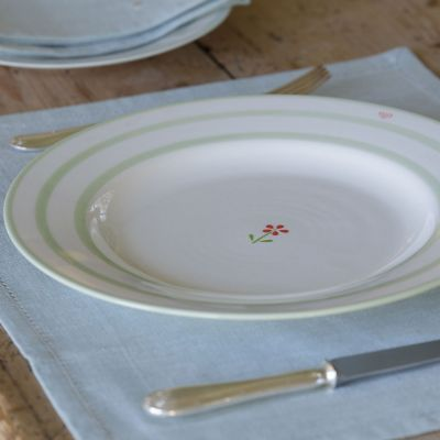 Flowerbed Red Dinner Plate with Stripes - 29 cm
