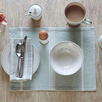 Duck Egg Oxford Stripe Placemats (set of 4)