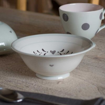Charcoal Gustavian Heart Pudding Bowl