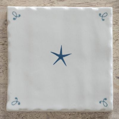 true blue star hand painted and hand made tile