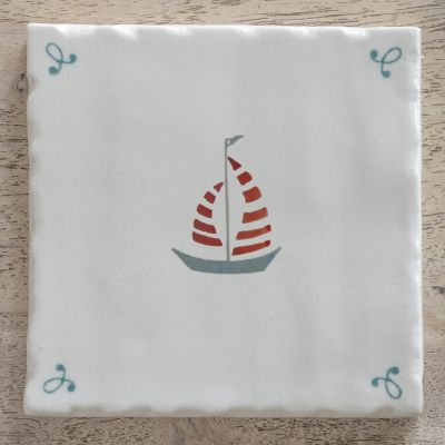 hand made and hand painted boat tile
