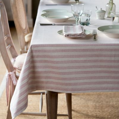 Pale Rose Cambridge Stripe Tablecloth – Medium