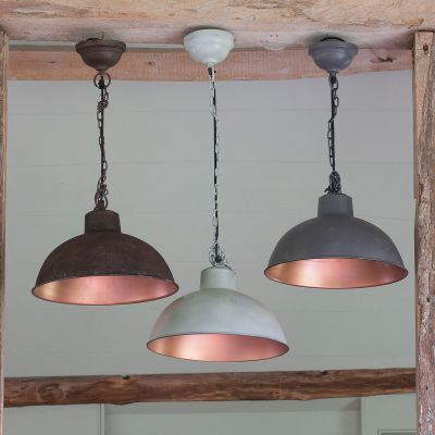 Rustic Charcoal Copper Lined Metal Pendant Lamp