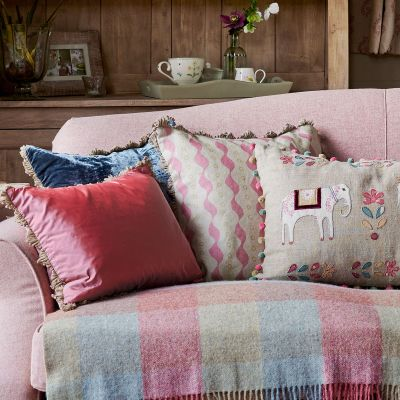 Pink Green Bloomsbury Linen Cushion