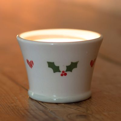Christmas Holly Scented Candlepot