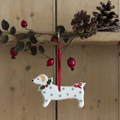 Blue Spotty Dog Christmas Decoration