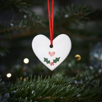 Holly Heart Christmas Decoration