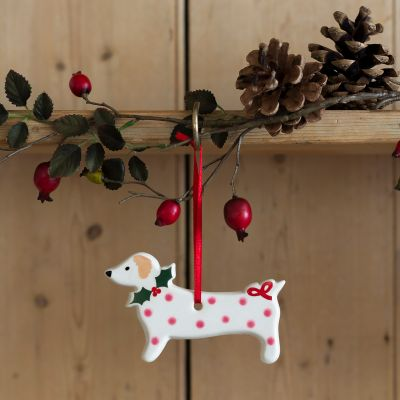 Pink Spotty Dog Christmas Decoration