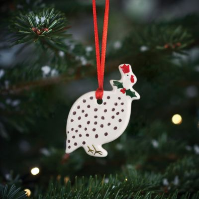 Charcoal Spot Guinea Fowl Christmas Decoration