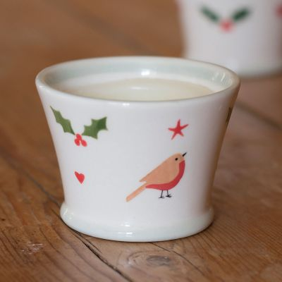 Christmas Robin Scented Candlepot