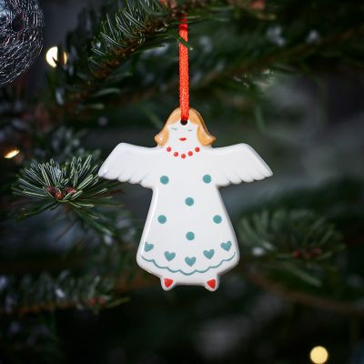 Blue Spot Angel Christmas Decoration