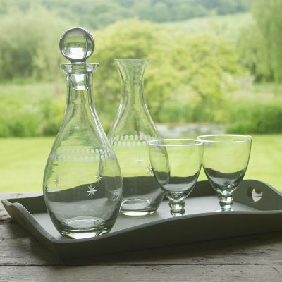 Engraved Glass Wine Carafe with stopper