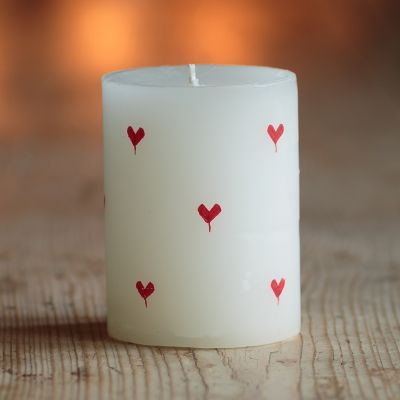 "Hand-painted Scented Pillar Candle - Red Heart 4"" (Glassware & Candles)"