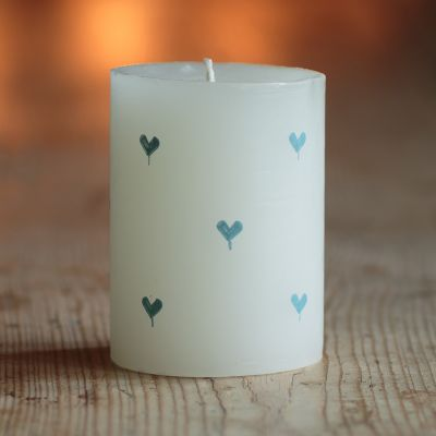 Handpainted Scented Pillar Candle - Blue Heart 4""