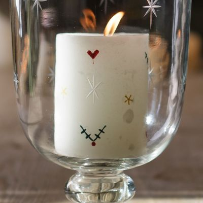 "Christmas Holly Hand-painted 4"" Pillar Candle – Seconds"