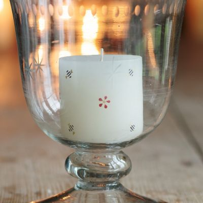 Hand-painted scented Pillar candle - Bees & Flowers 3""