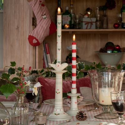 Red Stripe Hand-painted Candle